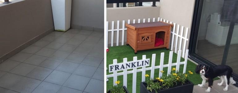 Sosem használt erkélyből igazi kis fellegvárat készítettek a kutyának