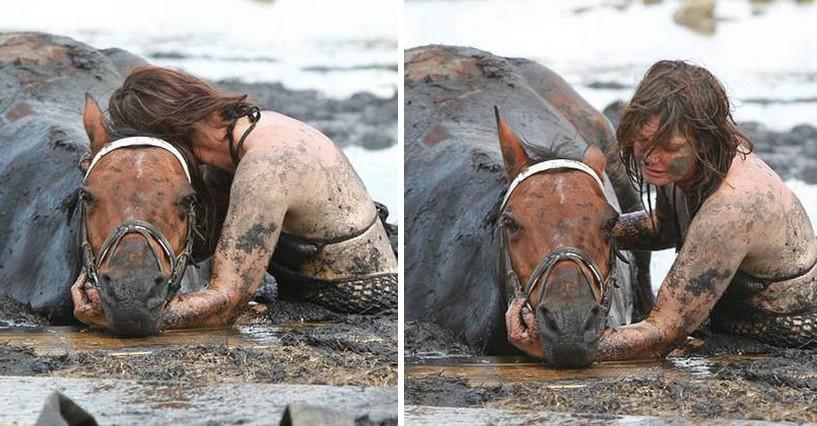 Saját életét kockáztatva, órákig küzdött sárba ragadt lova életéért ez a nő