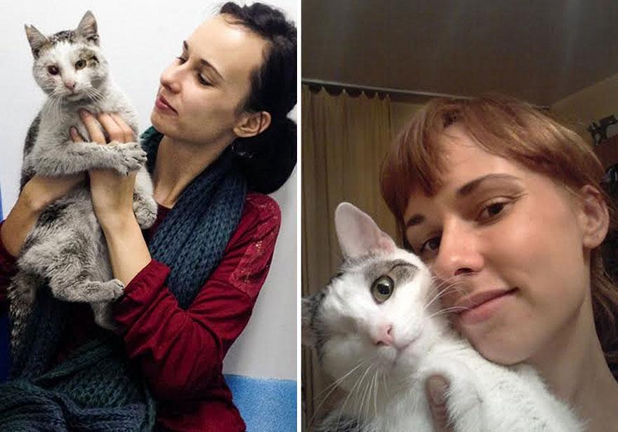 Egy félszemű cica története, aki megmentette gazdáit