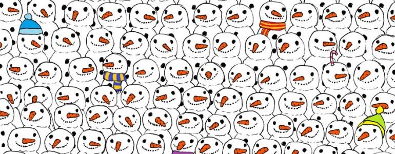 Megtalálod a pandát a hóemberek között?