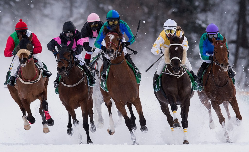 Andre Best (C)  riding Athlete de Sol leads the field  during the  H.H. Sheikh Zayed bin Sultan al Nahyan Listed Cup Flat Race of the White Turf St  Moritz on February 8, 2015 in St Moritz, Switzerland.  (Matthias Hangst/Bongarts/Getty Images)