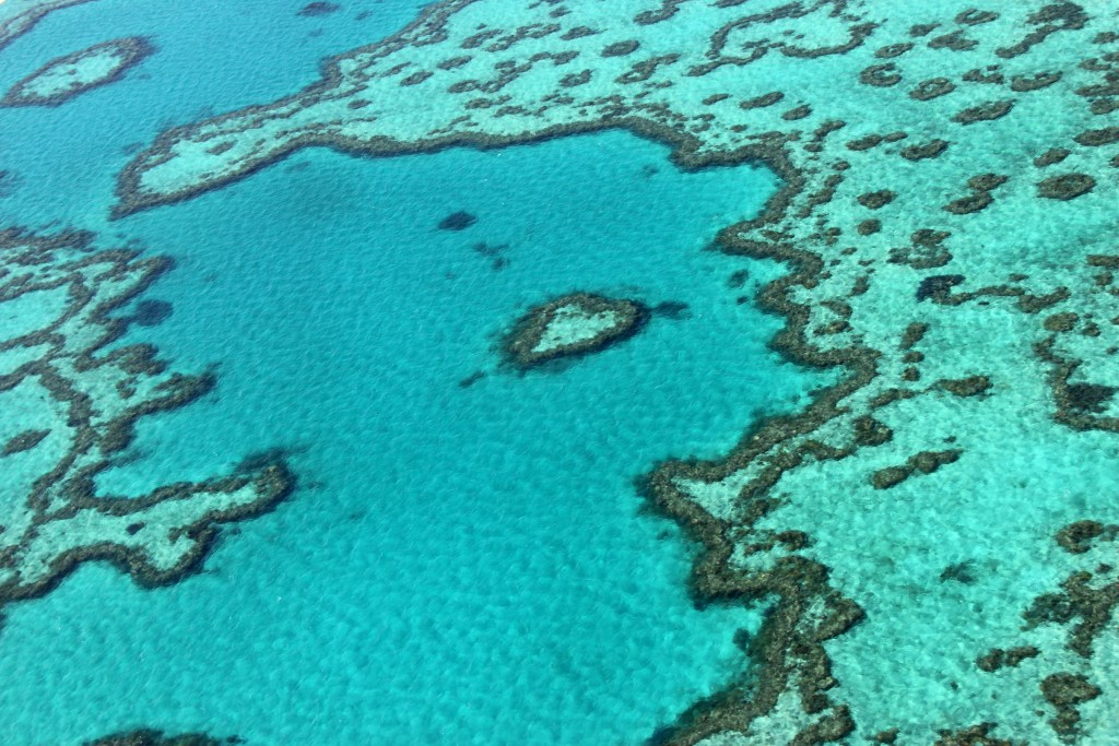 This photo taken on November 20, 2014 shows an aerial view of the Great Barrier Reef off the coast of the Whitsunday Islands, along the central coast of Queensland.  The Great Barrier Reef Marine Park encompasses about 99 percent of the World Heritage-listed natural wonder, with the additional one percent outside the marine park but within the heritage-listed area -- about 3,600 square kilometres (1,390 square miles) -- being managed by the Queensland state government and includes most islands and ports, as well as lakes and other waterways.       AFP PHOTO / SARAH LAI