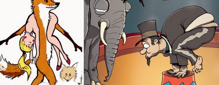 20 sokkoló rajz arról, mi történne, ha az állatok viselkednének úgy az emberekkel, mint mi velük