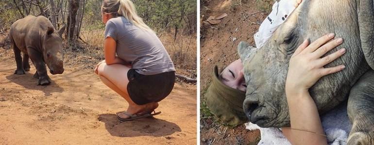 Mamájának tekinti megmentőjét az árván maradt orrszarvúbébi