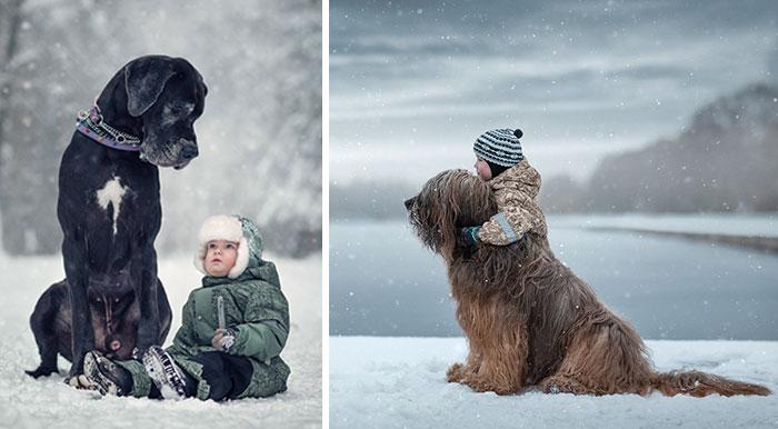 Gyerkőcök és hatalmas kutyusok a hét legcukibb fotósorozatán