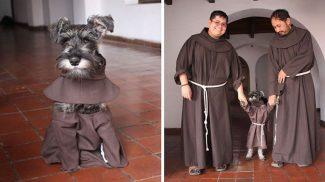 Szerzetesek fogadták örökbe az imádnivaló kóbor kutyust